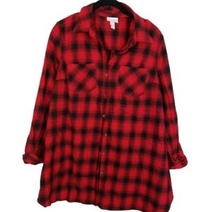 Isabel Maternity Red & Black Flannel Shirt